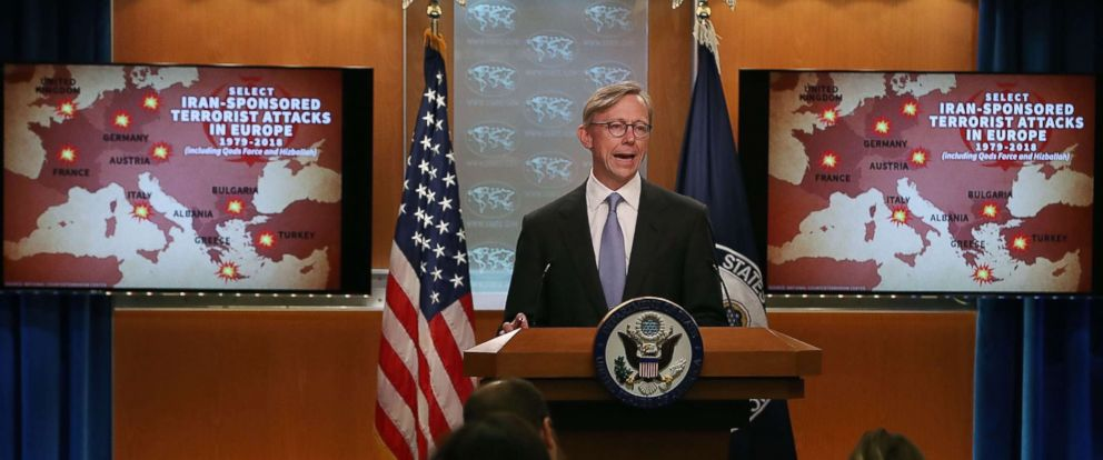 PHOTO: Brian Hook, Director of Policy Planning, speaks to the media about Iran, in the press briefing room at the Department of State, July 2, 2018 in Washington, D.C.