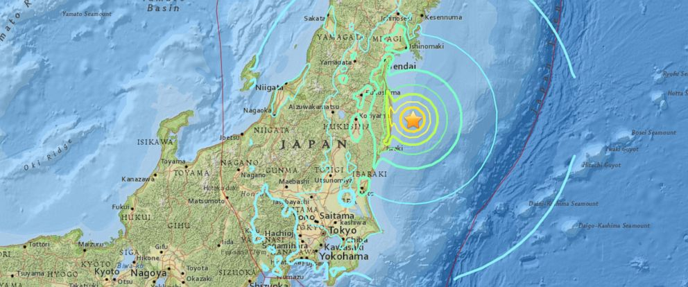 PHOTO: A map produced by the United States Geological Survey shows an earthquake that struck off of the eastern coast of Japan at 6 a.m. local time, Nov. 22, 2016.