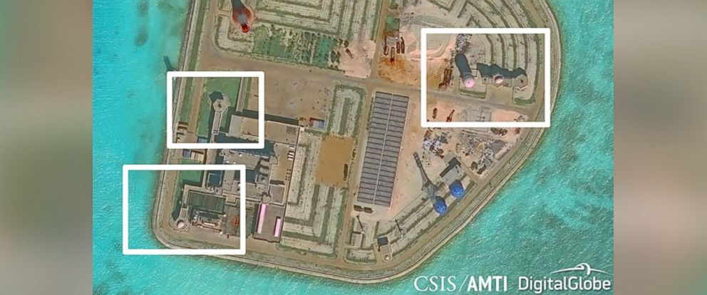 PHOTO: Satellite images taken in November 2016 appear to show evidence of Chinese military defenses on artificial islands in the South China Sea. Pictured: Nov. 29, 2016.