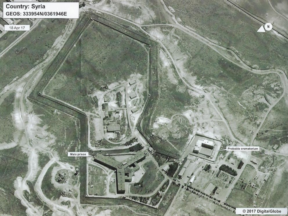 PHOTO: Satellite image distributed by the US State Department showing the Saydnaya prison camp in Syria.
