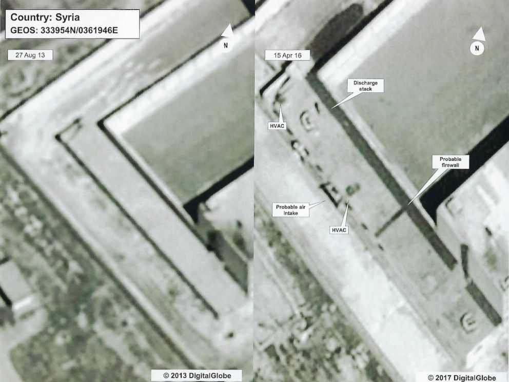 PHOTO: Detail of a satellite image of a building at the prison complex in Saydnaya, Syria, showing evidence of what is believed to be a crematorium.