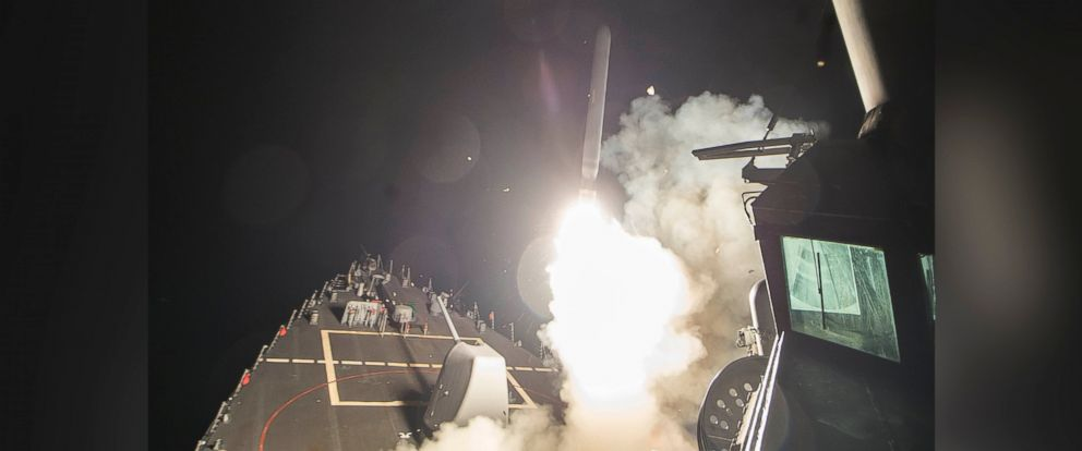 PHOTO: The USS Ross fires a tomahawk land attack missile at Shayrat Airfield in Syria, April 7, 2017.