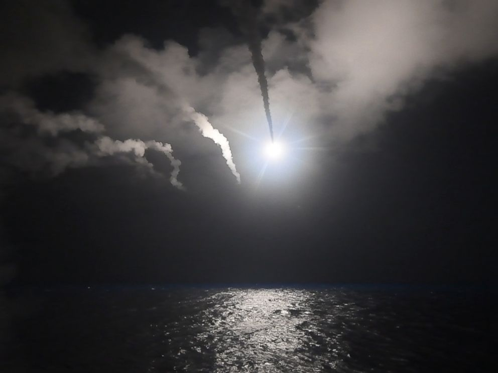 PHOTO: The guided-missile destroyer USS Porter conducts strike operations while in the Mediterranean Sea, April 7, 2017.