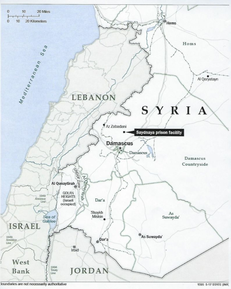 PHOTO: Map showing the location of the Sadynaya prison in Syria.