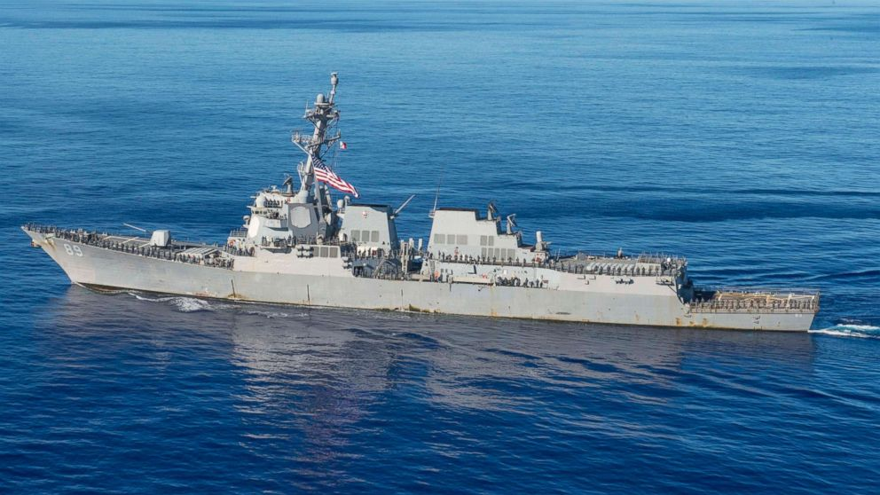 The guided-missile destroyer USS Mustin is pictured near Guam on July 26, 2015.