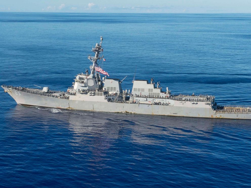 PHOTO: The guided-missile destroyer USS Mustin is pictured near Guam on July 26, 2015.
