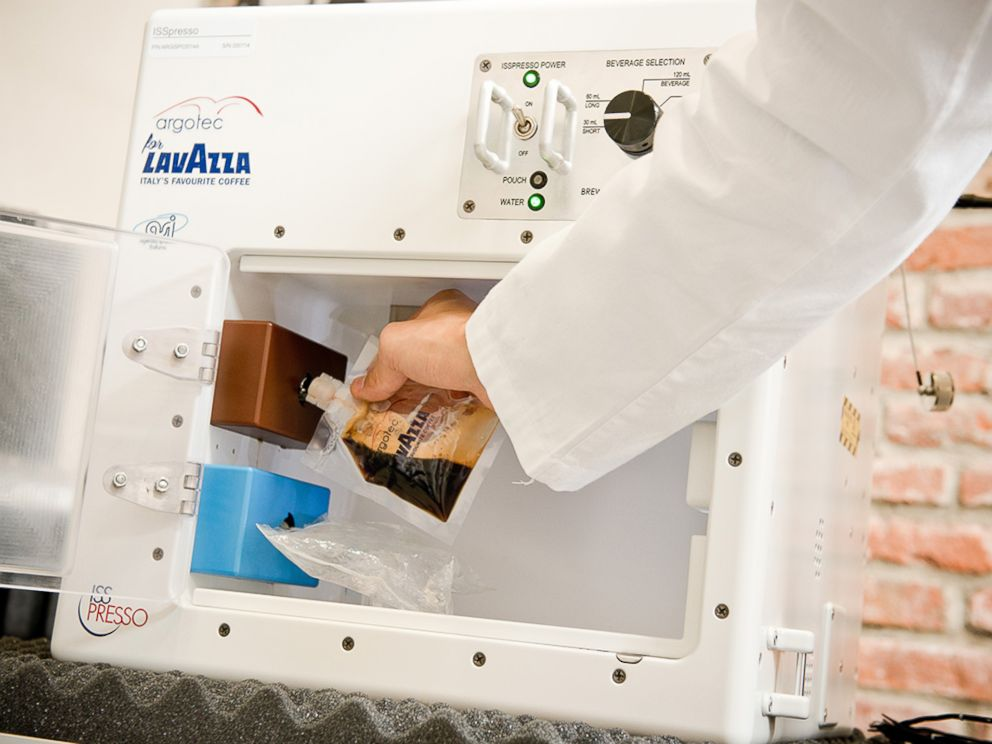 PHOTO: The Italian Space Agency is sending the first espresso coffee machine to the International Space Station. Made by Lavazza and Agrotec, it is designed to withstand extreme amounts of pressure and can operate in microgravity conditions.
