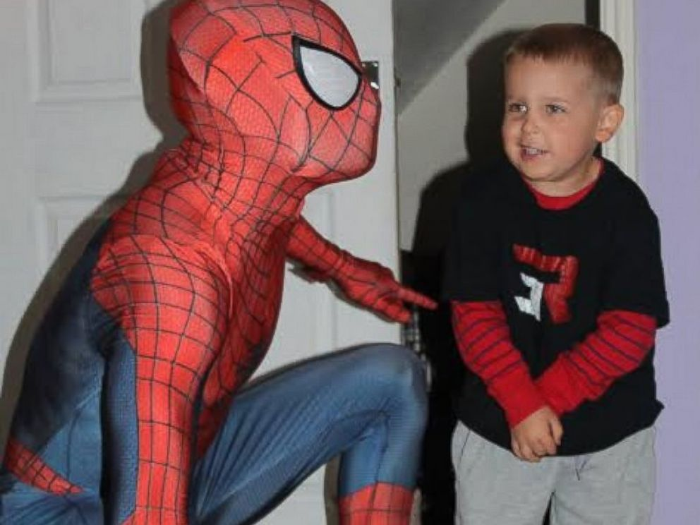 PHOTO: Michael Wilson jumped from the roof of his home dressed as Spider-Man to surprise his son, Jayden on his 5th birthday, which may be his last.