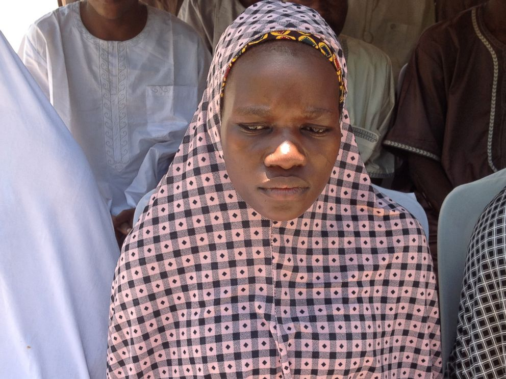 PHOTO:In this photo taken September 14, 2015, Tabitha Adamu, abducted and impregnated by Boko Haram militants, speaks to media in Nigeria about her marriage to a Boko Haram fighter.
