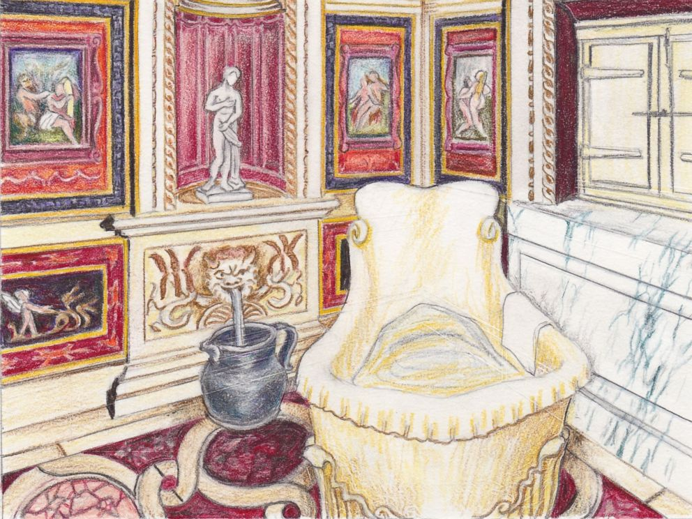 PHOTO: An artists recreation of the legendary Stufetta del Bibbiena within the Vatican Palace, decorated with erotic imagery by Raphael in 1516.