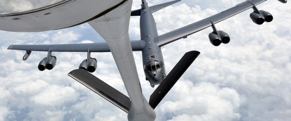 PHOTO: A B-52 Stratofortress approaches the refueling boom of a KC-135 Stratotanker from the 931st Air Refueling Group, at McConnell Air Force Base, Kan., during an air refueling training exercise, May 12, 2014.