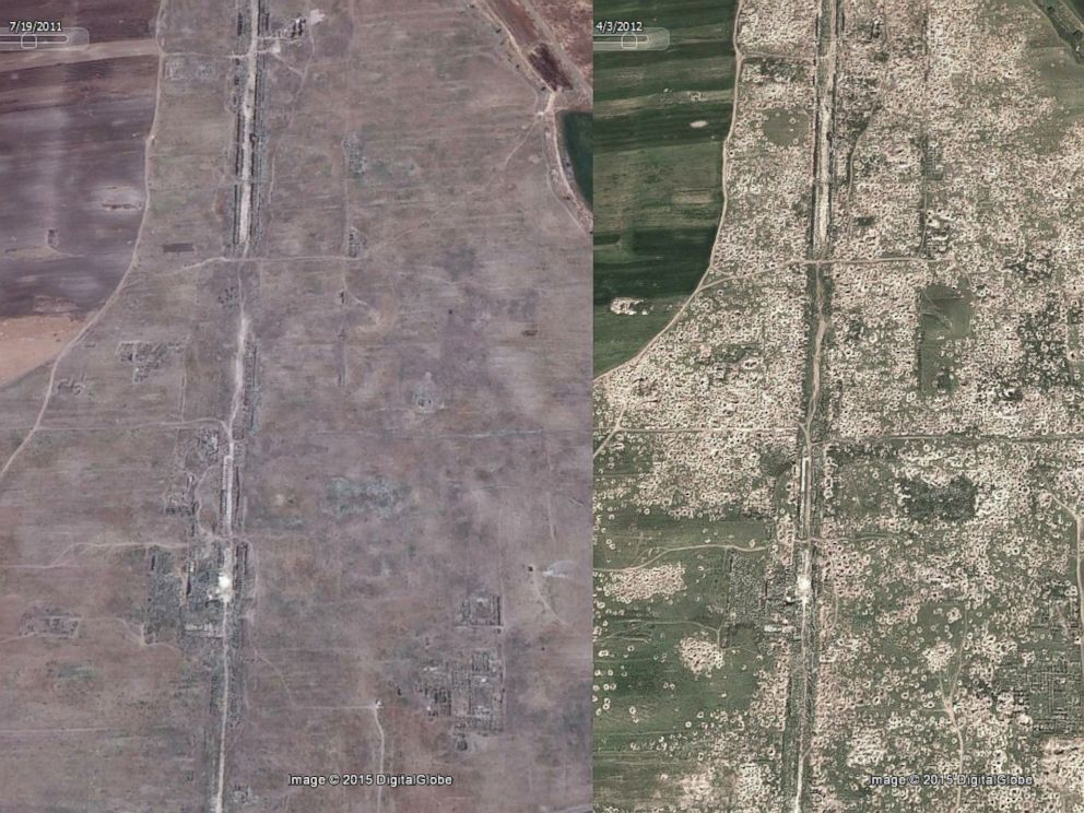 PHOTO: Google Earth satellite photos taken in 2011 (left) and 2012 (right) show the purported impact of looting on the land.