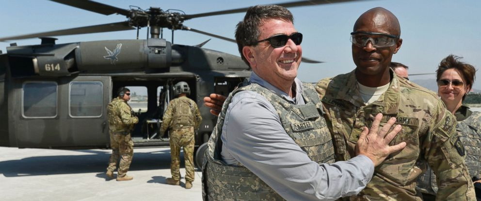 PHOTO: U.S. Army Brig. Gen. Ron Lewis, right, greets Deputy Secretary of Defense Ashton B. Carter, left, in Jalalabad, Afghanistan, May 13, 2013.