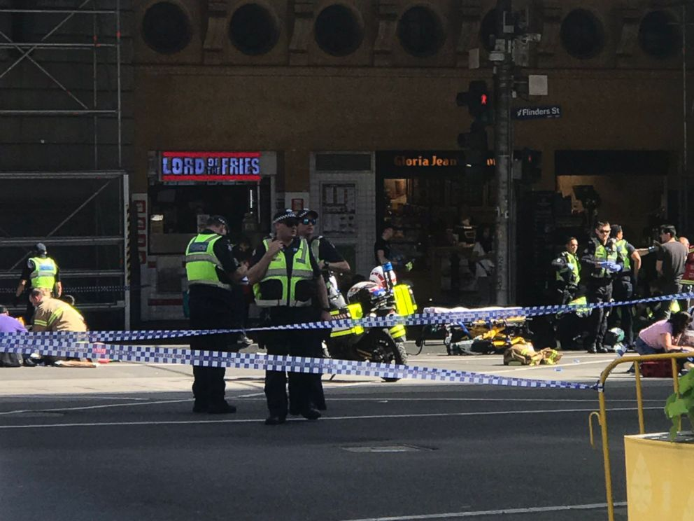 PHOTO: First responders in Melbourne, Australia, respond to an incident during which a vehicle collided with pedestrians on Dec. 21, 2017.