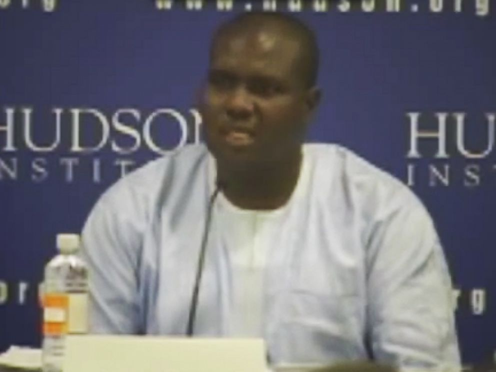 PHOTO: Adamu Habila speaks at the Hudson Institute on Nov. 14, 2013 in Washington, D.C. about his experience surviving a massacre in Nigeria by the Islamist terrorist group Boko Haram.