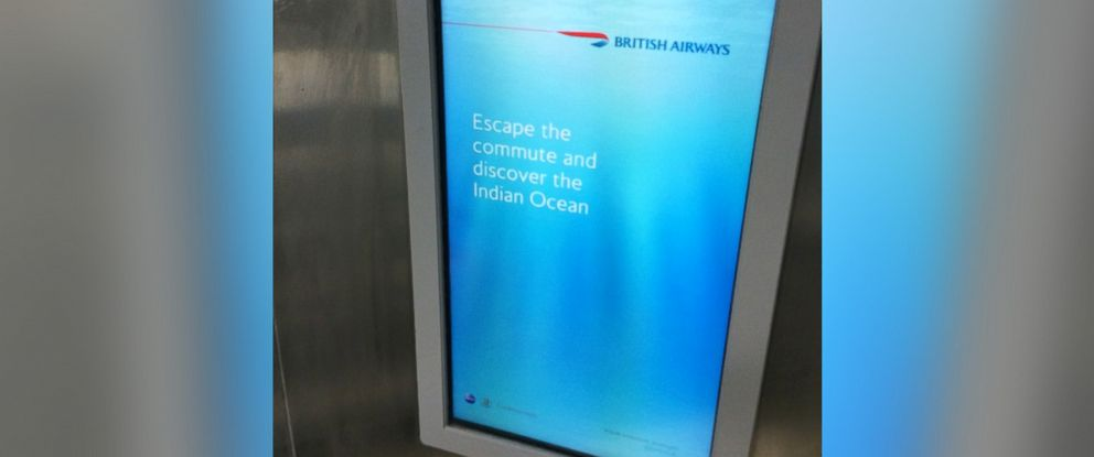"""PHOTO: Pictured is the British Airways ad that includes the caption, """"Escape the commute and discover the Indian Ocean."""""""