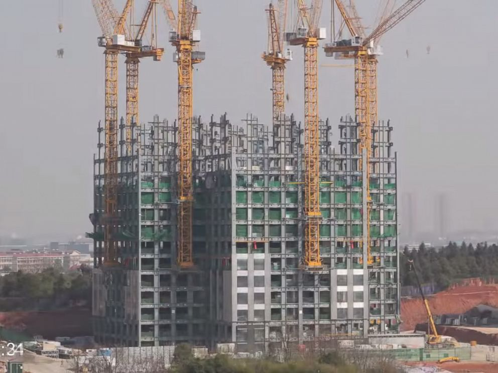 PHOTO: A screen grab from a video released by BROAD Group on March 7, 2015 shows a 57-story building being constructed in Changsha, China.