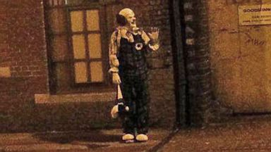 "PHOTO: The town of Northampton, England, a creepy looking clown has been appearing around town, even setting up the Facebook page, ""The Northampton Clown""."