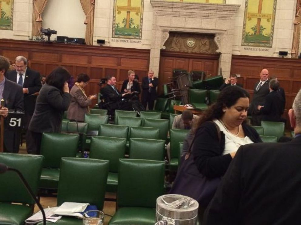 PHOTO: This photo from inside the caucus room after the shooting was posted to Twitter by @ctvottawa with the text, Pic from Conservative MP Nina Grewal of caucus is getting a lot of attn on Twitter. @grahamctv: #ottawashooting.
