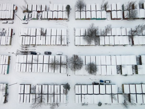PHOTO:Lithuanian winter landscape seen from the sky.