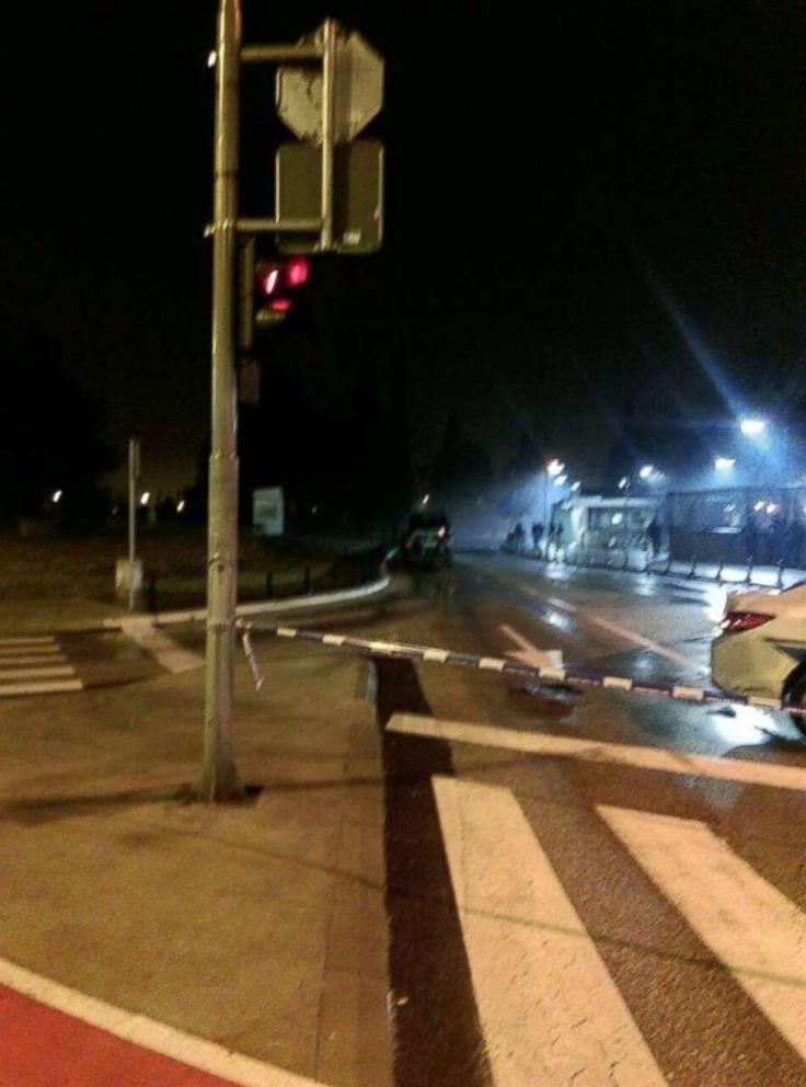 PHOTO: The scene near the U.S. embassy in Podgorica, Montenegro, where a small explosion occurred on Feb. 22, 2018.