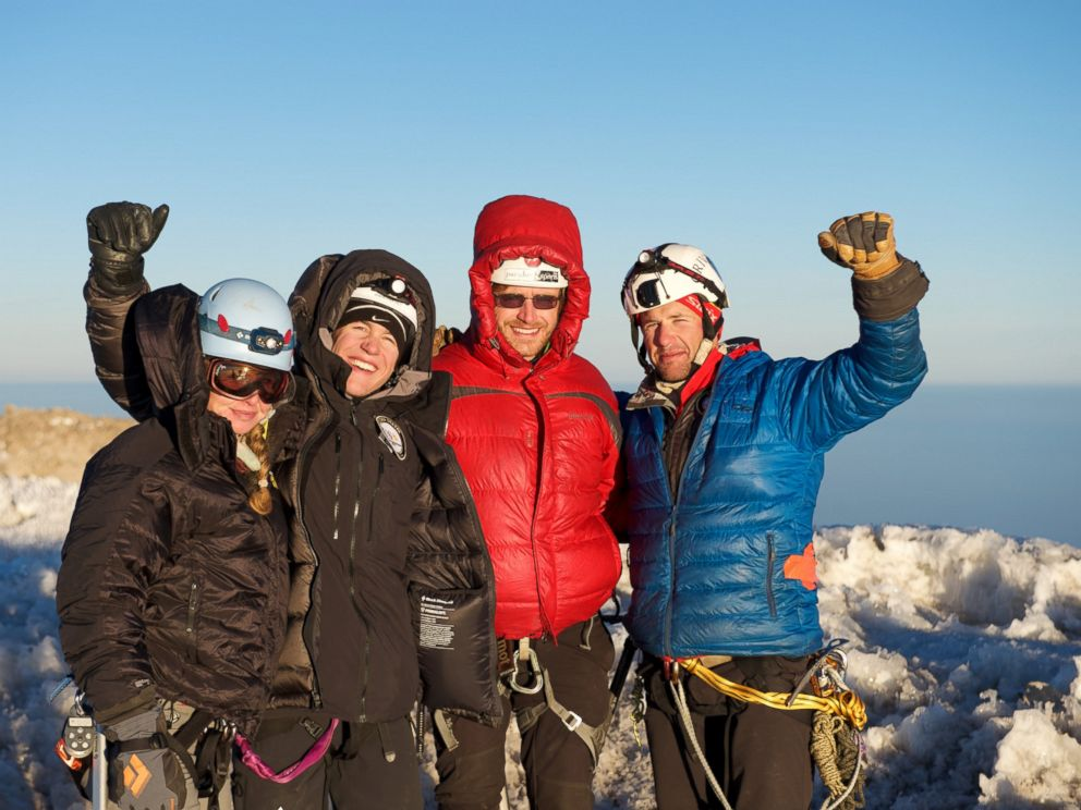 PHOTO: Captain Matt Hickey, USX CEO (at far right), led the climbing team in their training expedition at Mount Rainier the group will begin the Mount Everest ascent, April 7, 2016.