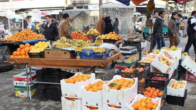 PHOTO: A fruit stand in the Tareeq Al Bab market in Aleppo.