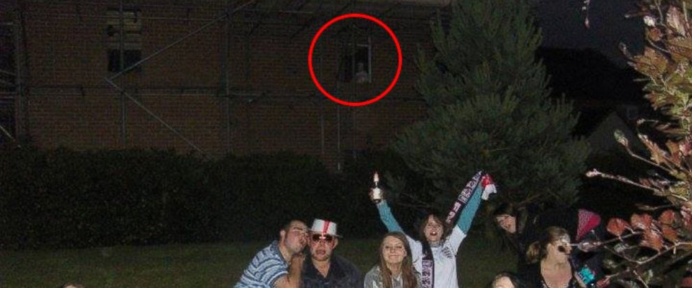 """PHOTO: Natasha Oliver, pictured here with her friends in 2010, believes there is a """"ghostly figure"""" in the window behind them."""