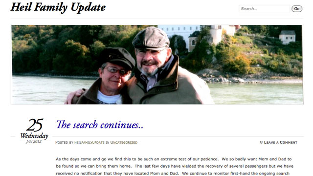 PHOTO: Family members of Jerry and Barbara Heil created this internet posting in regard to the search efforts for the couple who have been missing since the Costa Concordia cruise ship crash.