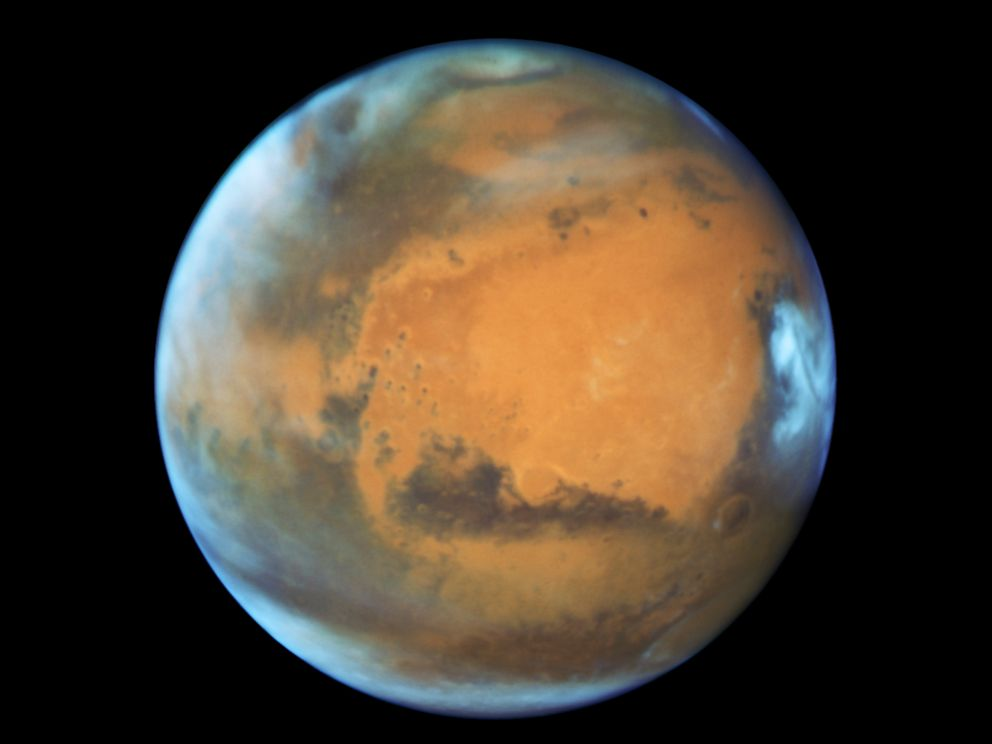 PHOTO: Mars is pictured in an image made with the Hubble Space Telescope when the planet was 50 million miles from Earth on May 12, 2016.