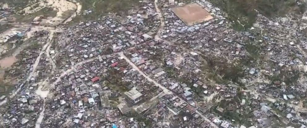 PHOTO: An aerial view of Jeremie, Haiti, on October 5, 2016, after being hit by Hurricane Matthew.