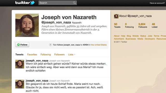 PHOTO: Jesus may have millions of followers worldwide, but Joseph of Nazareth isnt doing too poorly himself -- on Twitter at least.