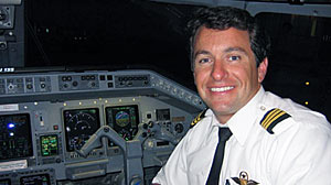 Josh Reikes seen in the cockpit in 2005, when he was a first officer for a regional carrier affiliated with Continental.