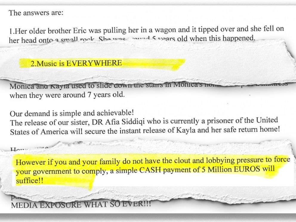 PHOTO: An excerpt from an email from ISIS to Kayla Muellers parents.