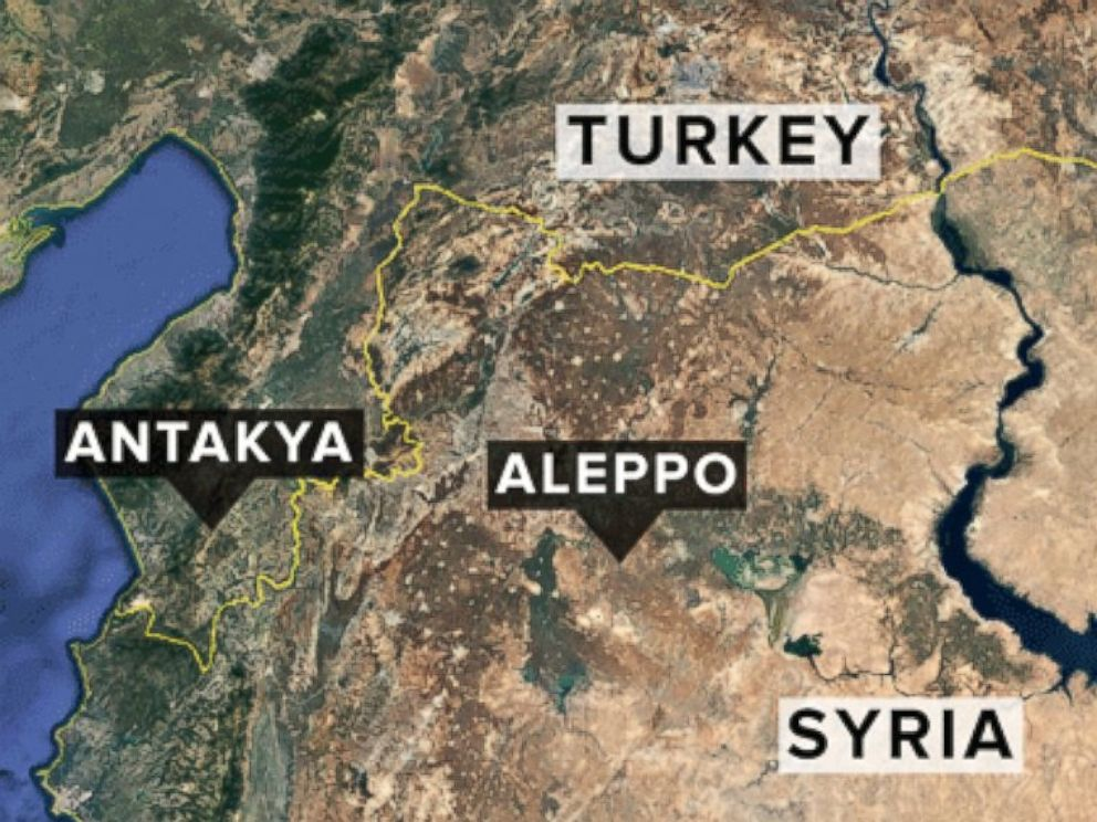 Map showing Antakya, Turkey, and Aleppo and Ar Raqqa, Syria.