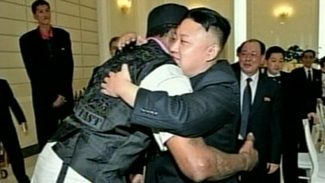 PHOTO: North Korean leader Kim Jong Un hugs former NBA star Dennis Rodman during Rodmans visit to Pyongyang, North Korea.