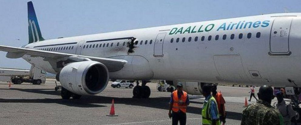 PHOTO: A photo of a Daallo Airlines Airbus 321 that made an emergency landing after takeoff from Mogadishu, Somalia on Feb. 2, 2016 appears to show damage consistent with an explosion from inside the plane.