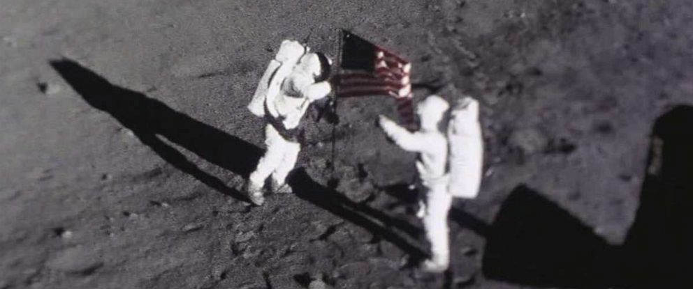 PHOTO: Astronauts Neil Armstrong and Buzz Aldrin place the American flag on the Moon, July 20, 1969. This image was captured by the Apollo 11 Data Acquisition Camera that was mounted to the lunar module Eagle.