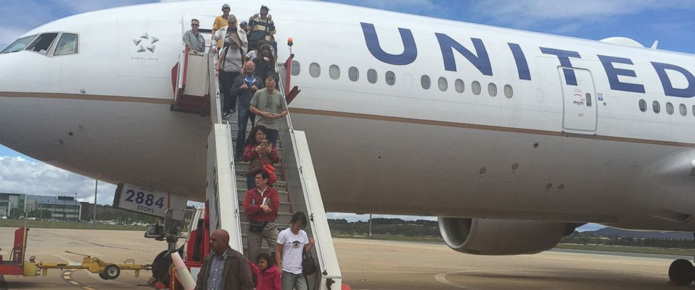 PHOTO: Passengers on a United Airlines flight were diverted to Canberra, Australia, part of a 30-hour travel ordeal.