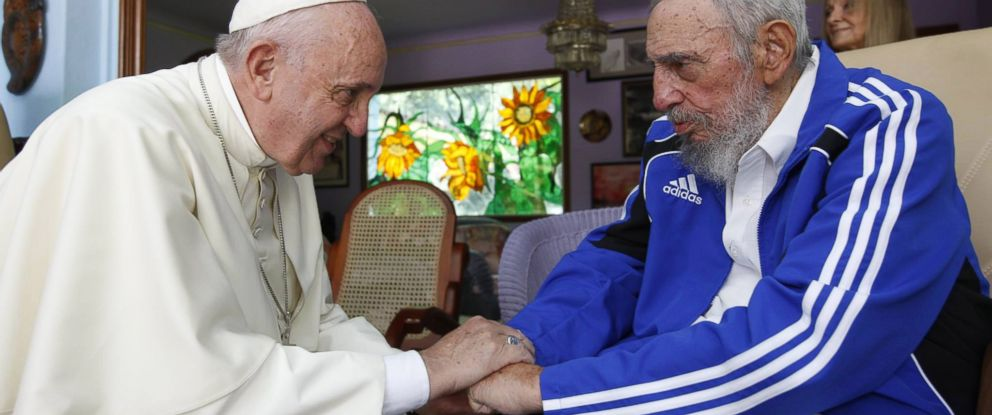 PHOTO: Pope Francis meets with former Cuban President Fidel Castro at Castros resident in Havana, Sept. 20, 2015.