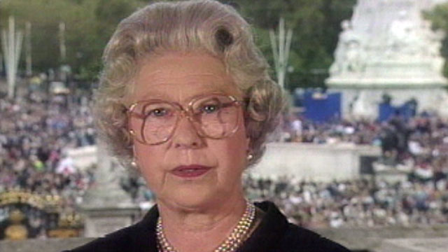 """PHOTO: Britain's Queen Elizabeth II, seen in this TV image, pays tribute to Diana, princess of Wales, extolling the late princess as an """"exceptional and gifted human being,"""" Sept. 5, 1997, at Buckingham Palace."""