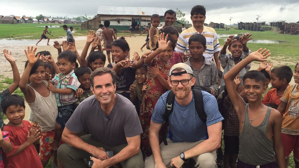 PHOTO: ABC News Bob Woodruff and Fortify Rights Matthew Smith are pictured together with Rohingya children inside the refugee camps.