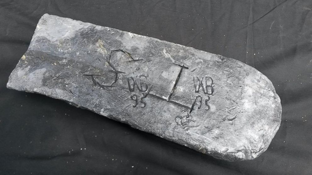 The silver bar found off the coast of Madagascar.