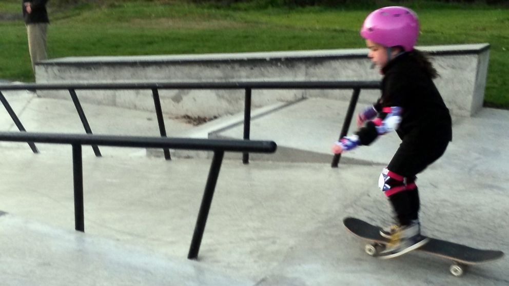 Jeanean Thomas of Ontario, Canada shared photos of her daughter learning how to skateboard at a skate park on Oct. 10, 2015 with the help of a local skater.