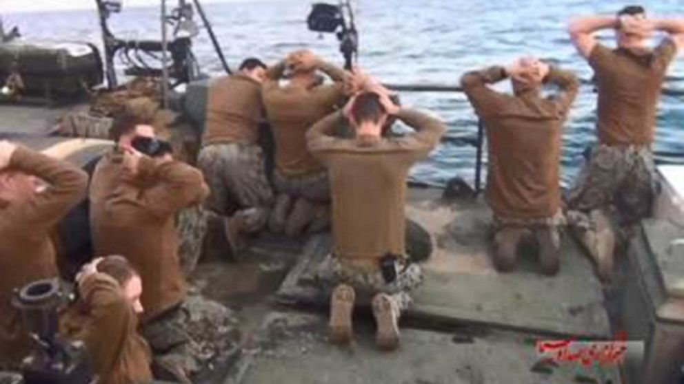 Screen grabs from video broadcast by Iran's state broadcaster purport to show 10 American sailors being detained by Iranian authorities in the Persian Gulf, Jan. 12, 2016.