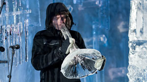 PHOTO Terje Insungset, the creator of IceMusic, plays a horn completely made of ice at the IceMusic Festival in Geilo, Norway.