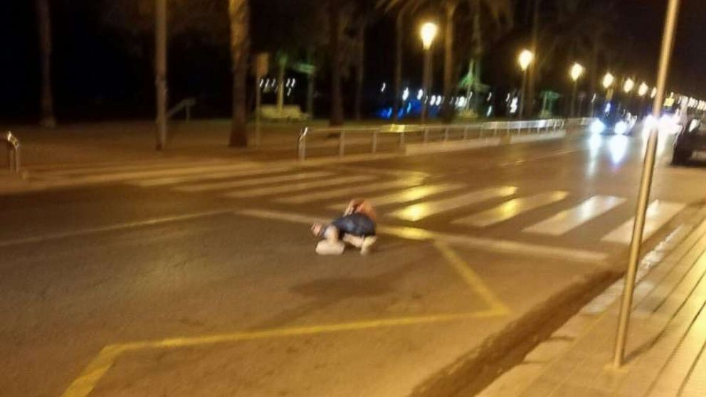 An eyewitness told ABC News that the individual lying here, in a street south of Barcelona, Spain, on August 18, 2017, is that of one of the alleged terrorists involved in a planned attack.