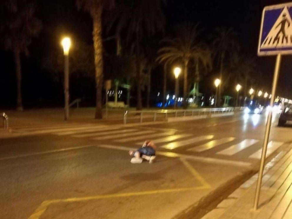 PHOTO: An eyewitness told ABC News that the individual lying here, in a street south of Barcelona, Spain, on August 18, 2017, is that of one of the alleged terrorists involved in a planned attack.