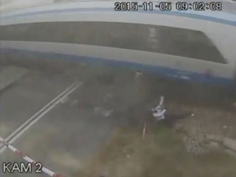 PHOTO: CCTV footage published on Dec. 9, 2015 shows a cyclist crashing into a high-speed train in Poland.