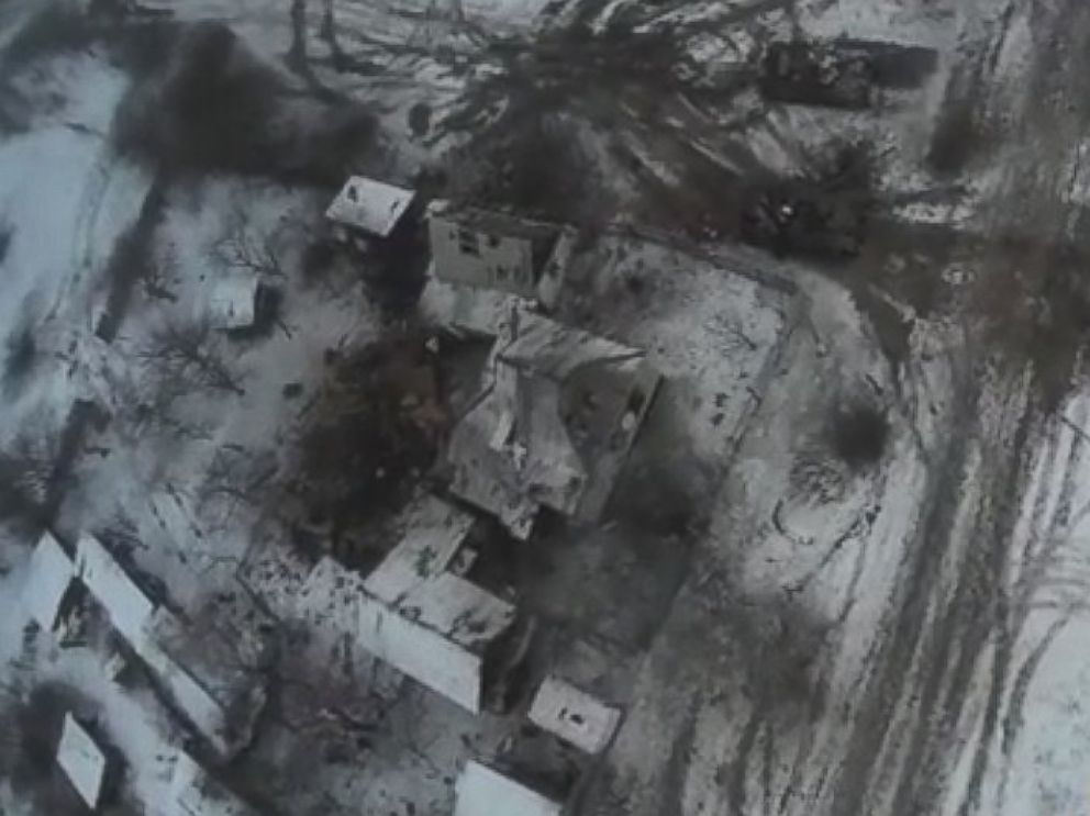 PHOTO: A drone video posted to YouTube Feb. 18, 2015, shows the aftermath of shelling in Debaltseve, Ukraine, Feb. 18, 2015.